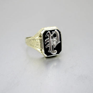 "10K Men's Signet Ring, Black Onyx 10K Yellow Gold Monogrammed Initial ""P"" Ring. 1940's Mens Jewelry."