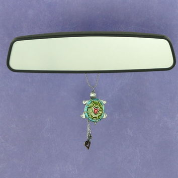 Cute Turtle Rearview Mirror Car Charm Ornament