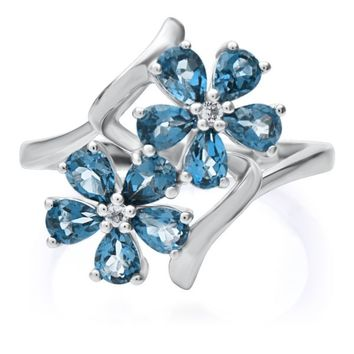 London Blue Topaz & White Topaz Flower Ring in Sterling Silver