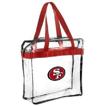 SF San Francisco 49ers Clear Plastic Zipper Tote Bag 2017 NFL Stadium Approved