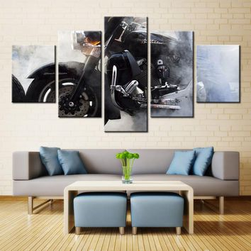 Harley Davidson Motorcycle Smoke Canvas Print Five Piece Wall Art