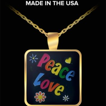 """Peace and Love"" Hippie Necklace Pendant. by #Googarilla. Gifts."