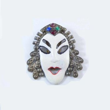 Antique Dress Clip Asian White Painted Face on Pot Metal, Rhinestone