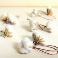 Cotton Field Earrings -Simple Unique Pure