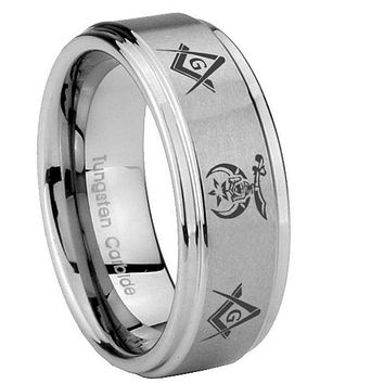 8mm Masonic Shriners Step Edges Brushed Tungsten Carbide Men's Band Ring