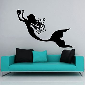 Wall Decal Mermaid Sea Shells Nautical Decor Vinyl Sticker Decals Bathroom Home Bedroom Decor Art Design Interior NS446