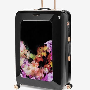 Large cascading floral suitcase - Black | Bags | Ted Baker UK
