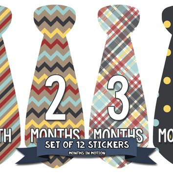 Baby Boy Monthly Baby Tie Stickers - Baby Month Sticker Set of 12
