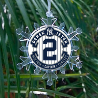 New York Yankees Derek Jeter Snowflake Blinking Light Holiday Christmas Tree Ornament