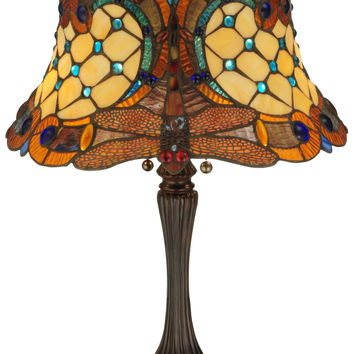 22.5 Inch H Tiffany Hanginghead Dragonfly Table Lamp