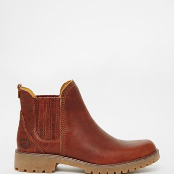 Timberland Lyonsdale Tan Leather Flat Chelsea Boots