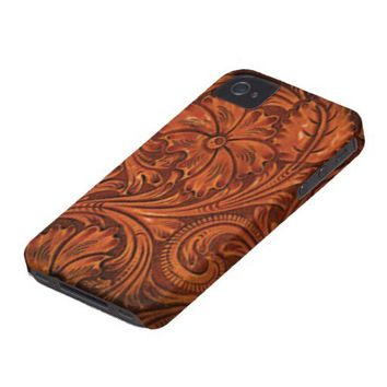 floral tooled leather style iphone iPhone 4 cases from Zazzle.com