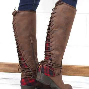 Very Volatile: Marcel Lace Up Back Buffalo Plaid Insert Boots {Brown}