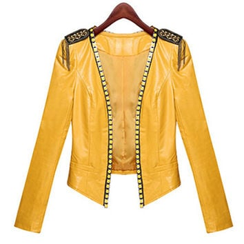 Yellow Beaded Leather Jacket