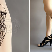 new: L/XL sexy Jellyfish tattoo tights / stockings /  full length /  pantyhose / nylons Ultra Pale