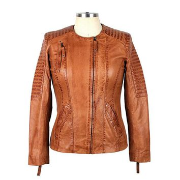 Women's Bessemer Cognac Leather Jacket