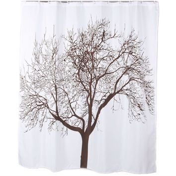 White Mocha Tree Silhouette Polyester Fabric Shower Curtain