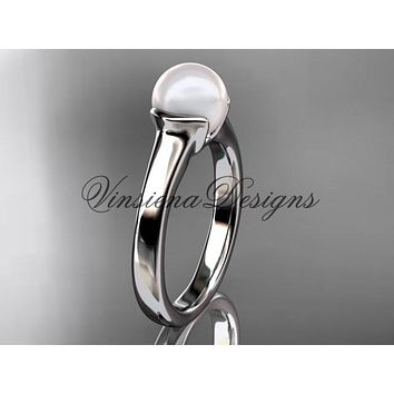 14kt white gold pearl engagement ring VP10016