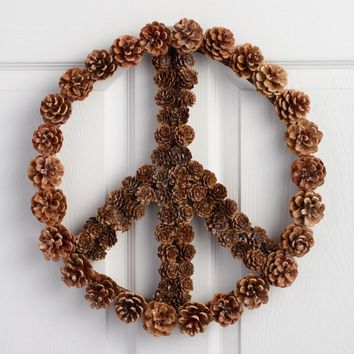 Pinecone Peace Sign Hanging Decor