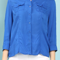 Two Pockets Roll Up Blouse