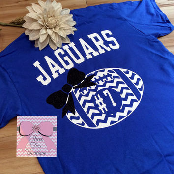 Monogram Chevron Football with Glitter Bow Oversized Monogram Football T Shirt Football Mom or Girlfriend Shirt Monogrammed Gifts
