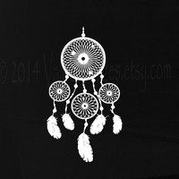4 circle boho style dream catcher car decal, laptop decal, vinyl decal, sticker
