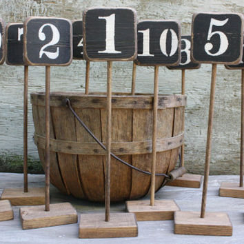 Set of 12 Distressed Rustic Wood Wedding Table Numbers Tags Sign Stand Sticks