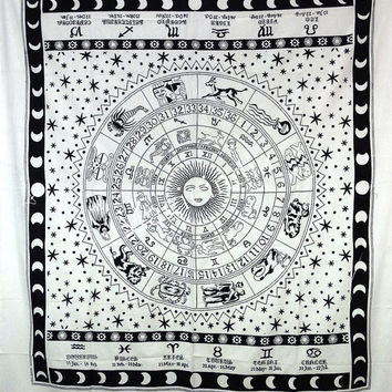 Zodiac Bedspread Bed Cover, Astrology Tapestry, indian Hippie Tapestries, Boho Wall Hanging, Zodic mandala tapestry Bohemian Wall Decor