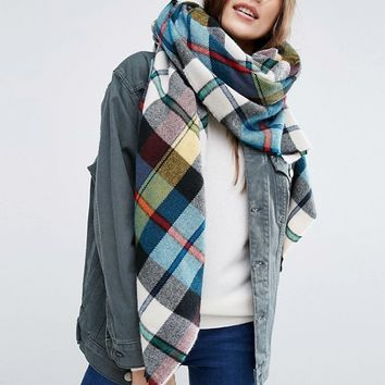ASOS Oversized Square Scarf In Multi Check at asos.com
