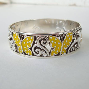 Brighton SUNNY WINGS Enamel Bangle Bracelet Figural Jewelry