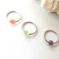 16g Cats Eye Beaded Cartilage Earring You Choose Size and Color, CBR Captive Bead Ring, 16g 16 Gauge Hoop, Tragus Helix Nose. 1148