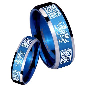 His Her Shiny Blue Bevel Multiple Dragon Celtic Two Tone Tungsten Wedding Rings Set
