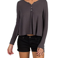 Long Sleeve Henley Top - Charcoal - Small