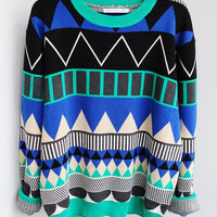 L 080204 b Diamond geometric pattern loose pullover