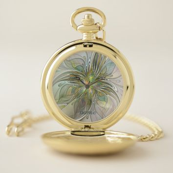 Floral Fantasy Modern Fractal Art Flower Gold Name Pocket Watch