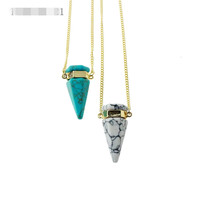Brand Design Geometric Jewelry Turquoise Opal Quartz Crystal Natural Stone Pendant Necklace Women