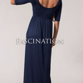 Audrey Solid 3/4 Sleeve Maxi Dress - Navy