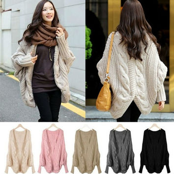 women winter casual batwing sleeve Knitting sweaters loose wraps bat sleeve cardigans winter shawl new knitwear sweater = 1946954372