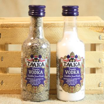 Salt & Pepper Shakers Upcycled from Taaka Vodka Mini Liquor Bottles, Mini Liquor Bottle Shaker Set