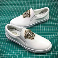 Versace White Leather Sneakers - Best Online Sale