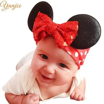 Minnie Mouse Ears Headband For Summer 2019 Girls Glitter Sequin Bow Hair Band Kids Birthday Party Padded Ears Hair Accessories