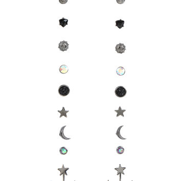 Opal Celestial Stud Earrings Set