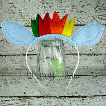 Rainbow Pony Headband Ears ITH Embroidery Design