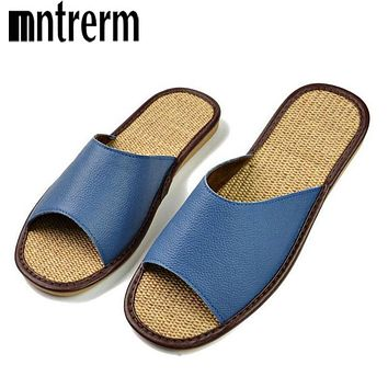 Genuine Leather Men Shoes Summer Slippers Home High Quality Full Grain Leather Slippers Women Slip Home Floor Shoes
