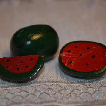 Miniature Wooden Watermelons Vintage 3 mini Watermelons Hand Painted Doll House Miniatures Watermelon Folk Art Collectible Miniatures