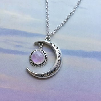 Pink Moonstone, To the Moon and back, crescent moon necklace, gemstone,
