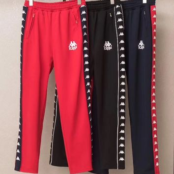 "shosouvenir : ""Kappa"" Letter Embroidery Casual Trousers Pants"