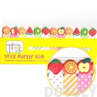 Colorful Kiwi Orange Strawberry Fruit Shaped Sticky Post-it Bookmark Tabs