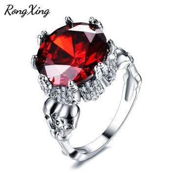RongXing Punk Skull Ring Big Stone Red Zircon Wedding Jewelry 925 Sterling Silver Filled July Birthstone Rings For Women RW1872