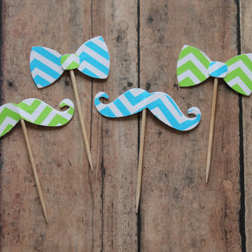 Blue and Lime Mustache and Bow Food pick- chevron picks, lil man showers, baby shower picks, food picks, blue green chevron, Mustache Bash